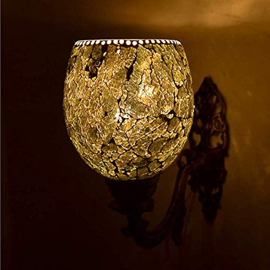 Shivam Lites Wall Lamp/Light with Hand Decorated Mosaic Glass Shade & Metal Fitting, Antique Crackle