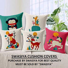 Load image into Gallery viewer, swasiya Jute Printed Decorative Sofa Square Cushion Cover Set (Multicolour, 16X16) -Pack of 5 - Home Decor Lo
