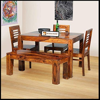 Hariom Handicraft Sheesham Wood Dining Table Set with 3 Chairs +1 Bench | Dining Room Furniture (Dark Honey Finish)