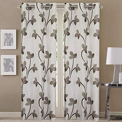 Queenzliving Mayfair Curtain, Door 7 feet- Pack of 2, Grey