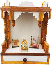 Load image into Gallery viewer, SANRACHNA Wooden Mandir for Pooja Room- Wall Hanging Temple Height-48, Length-40, Width-25 cm (White)