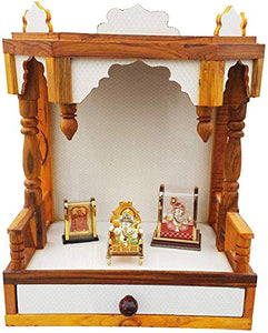 SANRACHNA Wooden Mandir for Pooja Room- Wall Hanging Temple Height-48, Length-40, Width-25 cm (White)