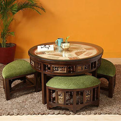 Aakriti Art Creations Round Centre Table with Four Puffies - Home Decor Lo