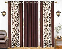 Load image into Gallery viewer, Home Weavers Polyester Printed and Long Crush Curtain for Door, 8feet, Coffee, Pack of 3
