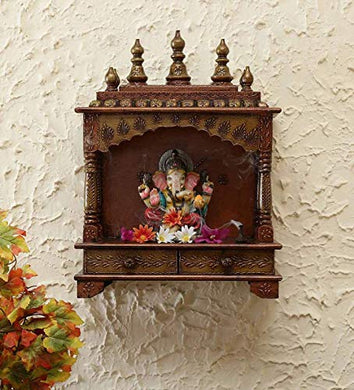 MICROTEX Designer Wooden mandir for Home, Pooja Room, Office, Shop, Temple Wall Hanging (23 inch X 16 inch) (Copper)