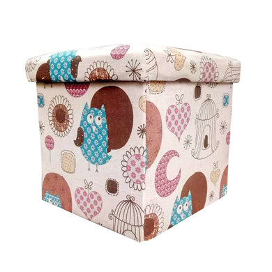Foldable Cotton Ottoman Storage Box Cum Stool - Home Decor Lo