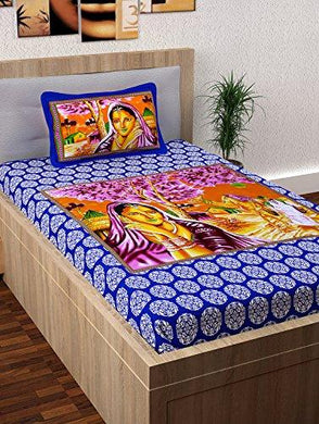 Story@Home 120 Thread Count Rajasthani Block Print Single Bed Size Ethnic Traditional Bedsheet with one Pillow Cover, Purple and Magenta - Home Decor Lo
