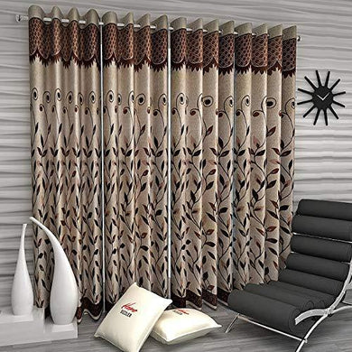 Home Sizzler Floral 4 Piece Eyelet Polyester Door Curtain Set - 7ft, Brown - Home Decor Lo