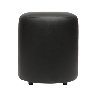 Britto Upholstered Round Faux Leatherette Pouffe: Black - Home Decor Lo