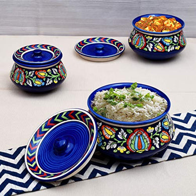 Tashveen Articles Stoneware Mughal Handies Set of 3, 1200, 800, 500 ml, 3 Piece (Blue Multicolour) Serving Set Bowl Set Dining Tableware