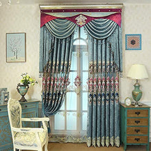 Load image into Gallery viewer, Generic Blue Brown Europe Luxury Villa Valance Curtains for Living Room Bedroom Window Embroidered Tulle Curtains Drapes Decoration: Blue Curtains, 1Pc W450Cmxh250Cm, Rod Pocket