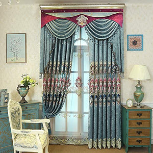 Generic Blue Brown Europe Luxury Villa Valance Curtains for Living Room Bedroom Window Embroidered Tulle Curtains Drapes Decoration: Blue Curtains, 1Pc W450Cmxh250Cm, Rod Pocket