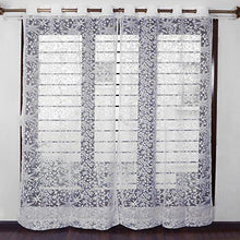 Load image into Gallery viewer, Story@Home Sheer Door Curtains Linen Look Semi Transparent Voile Grommet Elegance Curtains for Living Dining Room, Bedroom Drapes 46 x 84 Inch Long, Set of 2 Panels, Milky White - Home Decor Lo
