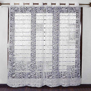 Story@Home Sheer Door Curtains Linen Look Semi Transparent Voile Grommet Elegance Curtains for Living Dining Room, Bedroom Drapes 46 x 84 Inch Long, Set of 2 Panels, Milky White - Home Decor Lo