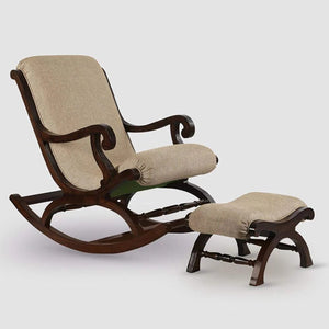 Shilpi Teak Wood Rocking Chair With Foot Rest - Home Decor Lo