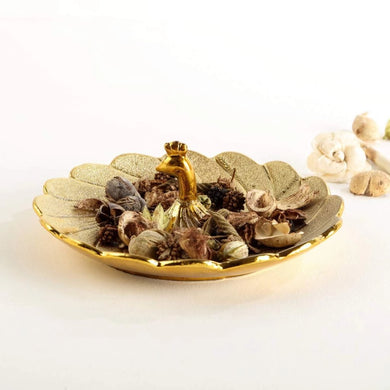 Home Centre Brit Fantasy Porcelain Peacock Platter Gold - Home Decor Lo