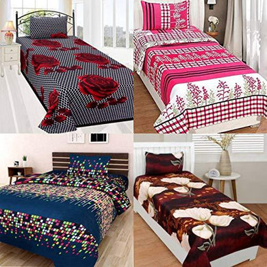 RS Home Furnishing Cotton 144 TC Bedsheet (Single_Multicolour) - Home Decor Lo