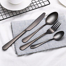 Load image into Gallery viewer, STAR WORK Restaurant Home Hotel Matte Set, Satin Finish Stainless Steel Flatware Set, Tableware Cutlery Set Utensils for Kitchens, Dishwasher Safe [Dinner Fork-Tea Spoon-Salad Spoon-Knife] (Set of 4) - Home Decor Lo
