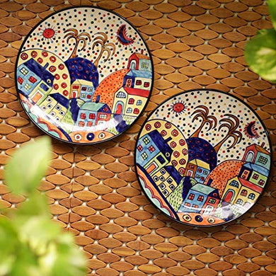 ExclusiveLane Hut Handpainted Ceramic Dinner Plates Dinnerware Serving Plate Thali Ceramic Plates for Dinner (2 Pieces, Microwave & Dishwasher Safe)