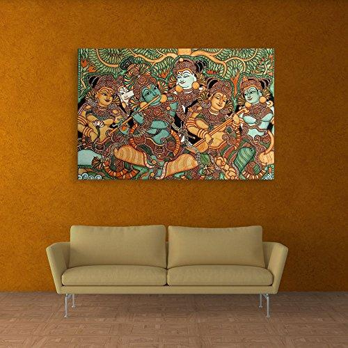Inephos Unframed Canvas Painting - Kerala Mural Art Wall Painting for Living Room, Bedroom, Office, Hotels, Drawing Room (91cm X 61cm) - Home Decor Lo