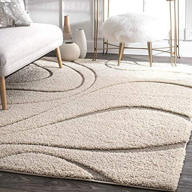 SWEET HOMES Carpet, Ultra Soft Handwoven shag Collection Modern Design. 3x5 Feet Color, Ivory/Beige - Home Decor Lo