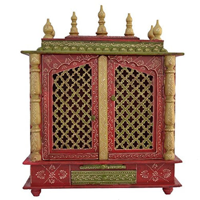 Jaipur Lane Marusthali Handcrafted Wooden Temple with Door and Light (24x12x30 Inch)