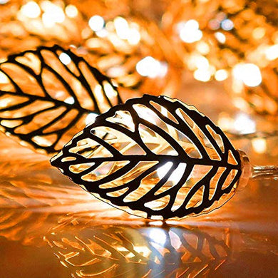 Ascension 16 Led 5 Meter Golden Metal Leaf Copper String Fairy Light for Home,Office, Diwali, Eid & Christmas Decoration Yellow