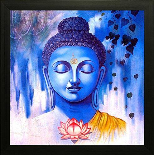 Saf Buddha Painting Exclusive Framed Wall Art Paintings. Frame Size (12 Inch X 12 Inch, (Wood, 30 Cm X 3 Cm X 30 Cm, Special Effect Textured) - Home Decor Lo