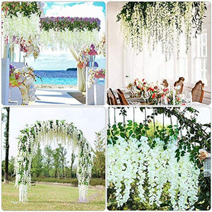 WoodZone 4 Pcs 42 Inches Wisteria Artificial Flowers Dense Flower Vine | Muggu Backdrop for Decoration | Phoolon ki Chaddar for Bride Entry | Artificial Flowers for Home Decoration Hanging (White)