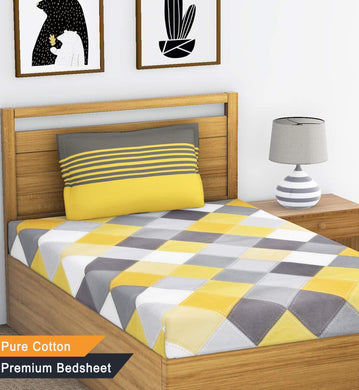 Ahmedabad Cotton 144 TC Cotton Single Bedsheet with 1 Pillow Cover - Yellow and Grey - Home Decor Lo