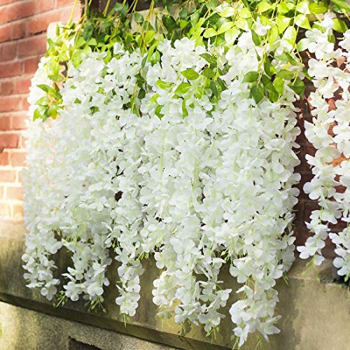 SHIMMER Pack 3.6 Feet Artificial Wisteria Vine Ratta Hanging Garland Silk Flowers String Home Party Wedding Decor ( White, Set of 8)