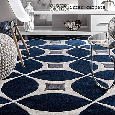 Irfan Carpets Modern Handmade Export Quality Tuffted Pure Woollen Latest Geometrical Carpet for Living Room Size 5 x 8 feet (150X240 cm) Multi - Home Decor Lo