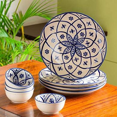 ExclusiveLane 'Moroccan Floral' Handpainted Ceramic Plates for Dinner Ceramic Dinner Plates with Katoris (8 Pieces, Serving for 4, Microwave Safe) - Dinner Sets Ceramic Bowls Set Dinnerware Sets