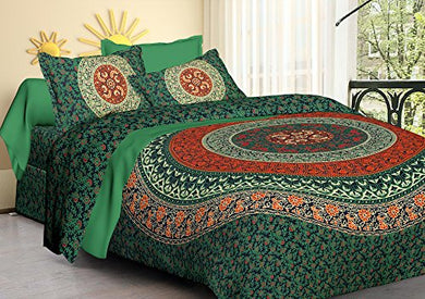 Tiger Exports Cotton Rajasthani Print Double Bedsheet with 2 Pillow Covers- King Size, Olive Green