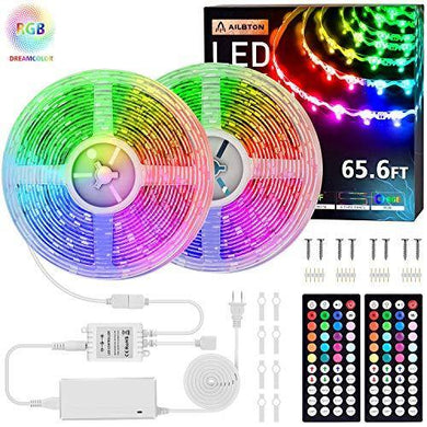 65.6ft Led Strip Lights 20M Ultra-Long S-Type Color Changing Light Strip with 2 Remote,600LEDs DIY Color Lights RGB LED Lights with UL Listed Adapter for Large-Place of Bar,Party,Home Decoration