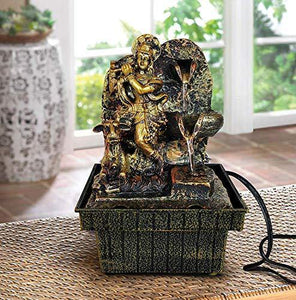TIED RIBBONS Krishna Statue Decorative Water Fountains with LED Lights for Tabletop Waterfall Indoor Outdoor Living Room Garden Home Decoration and Gifts - Home Decor Lo