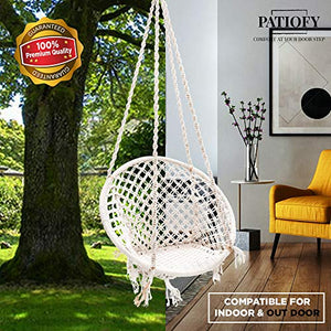 Patiofy Made in India Large Size Swing Chair|with Free Complete Hanging Kit Hammock-Hanging Chair Handmade 100% Cotton for Comfort Indoor and Outdoor (Swing with Accessories)