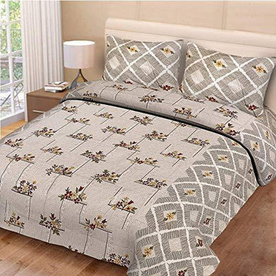 ShopKnot Pure Cotton Blissful Double Bedsheet with 2 Pillow Covers - 180 TC (Cream)