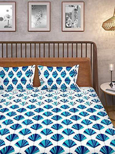 HUESLAND By Ahmedabad Cotton Comfort Cotton Bedsheet with 2 Pillow Covers - King Size, White and Blue