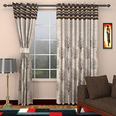 Homefab India Jute Modern 2 Piece Eyelet Polyester Door Curtain Set - 7ft, Brown - Home Decor Lo