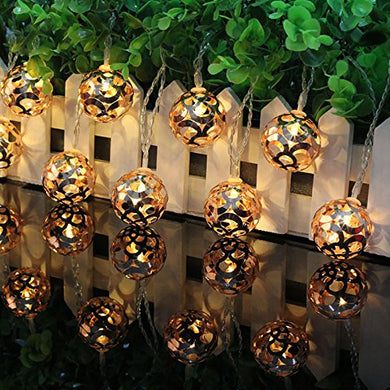 Citra Metal Ball Morrocan Orb White Wire String Light Fairy Lights for Diwali and Festival Decorations - Warm White