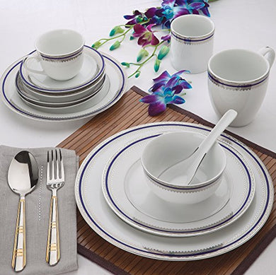 ALDA Porcelain Luxury Blue Platinum Dinner Set 33 Pcs Crockery Set