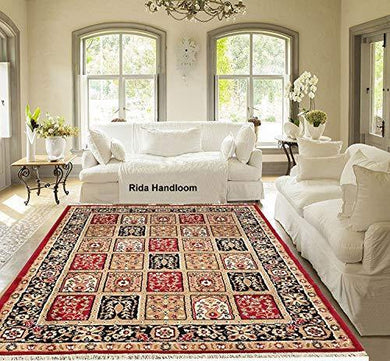 Rida Handloom Acrylic Carpet for Living Room Carpets, Center Table and Carpets for Hall, 5x7 Feet (Maroon) - Home Decor Lo
