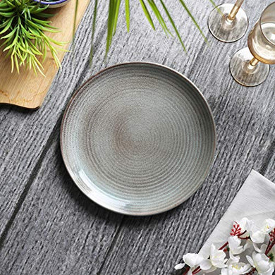 Tatvam Homes Handmade Austere Organic Ceramic Full Dinner Plates (10 inches, Set of 6)