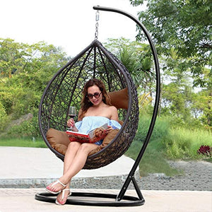 CITE Swing Chair || Leaf Single Seater || Swing Chair with Stand & Cushion & Hook Outdoor || Indoor || Outdoor || Living Room || Balcony || Garden || Patio || Home Improvement (Standard) (Brown)