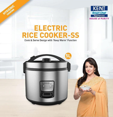 Kent 18/10 Steel Ss Non Sticky Ceramic Coating Electric Rice Cooker (KENELRICE, Grey)