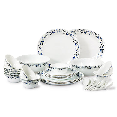 Cello Imperial Vinea Opalware Dinner Set, 33 Pieces, White