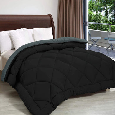 Microfiber Reversible AC Comforter for Double Bed: Black & Grey - Home Decor Lo
