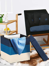 Load image into Gallery viewer, Story@Home Multi-Functional Collapsible Ottoman Footrest Seat Footstool Foldable Organizer Stool Chest Storage Box Laundry Box Cum Sitting Stool - Faux Linen, Blue - Home Decor Lo