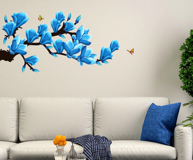 Decals Design 'Floral Branch with Realistic Flowers' Wall Sticker (PVC Vinyl, 50 cm x 70 cm)